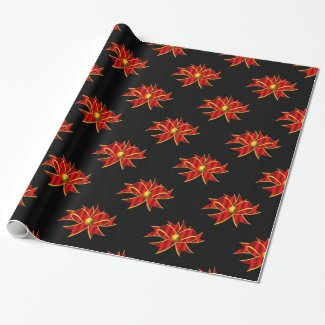 Red Ribbons on Black Contemporary Christmas Wrapping Paper