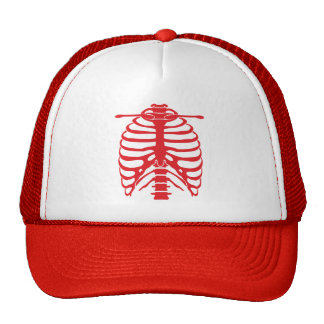 red ribcage trucker hat