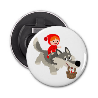 Red Riding Hood And The Wolf Button Bottle Opener