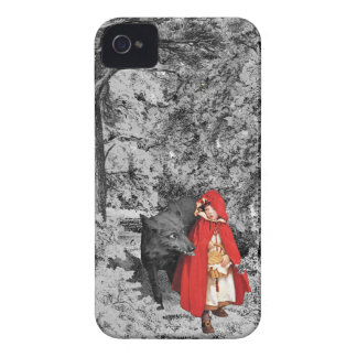 Red Riding Hood and the Wolf (BW) iPhone 4 Case-Mate Case