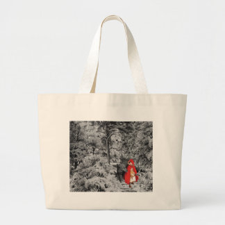 Red Riding Hood and the Wolf (BW) Jumbo Tote Bag