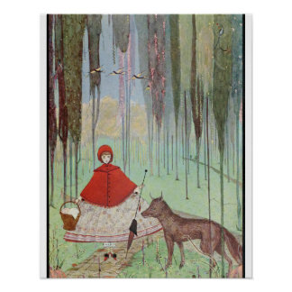 Red Riding Hood and Wolf in Woods Poster