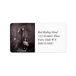 Red Riding Hood at Grandma Door Label