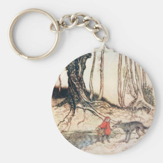 Red Riding Hood Basic Round Button Keychain