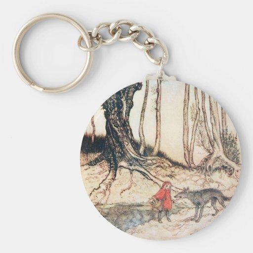 Red Riding Hood Basic Round Button Keychain