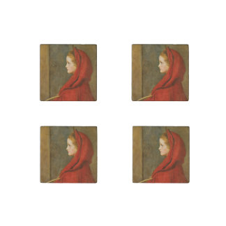 Red Riding Hood by Millais Stone Magnet