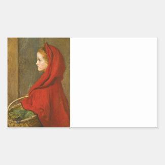 Red Riding Hood by Millais Rectangular Sticker