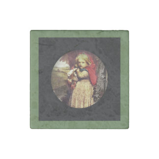 Red Riding Hood Clutches Basket Stone Magnet