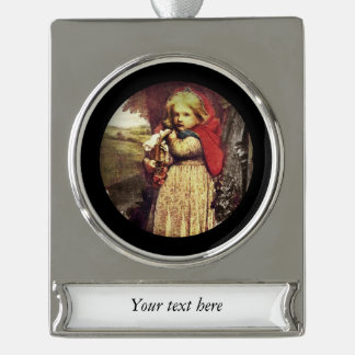 Red Riding Hood Clutches Picnic Basket Silver Plated Banner Ornament