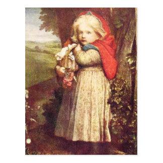 Red Riding Hood Clutching Basket Postcard