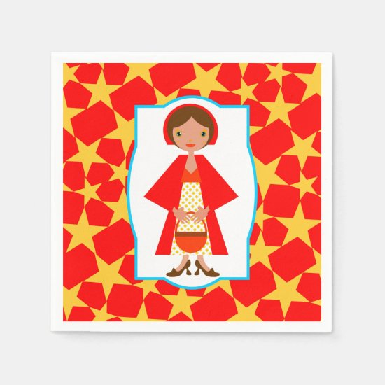 Red Riding Hood Girl Birthday Party Paper Napkin