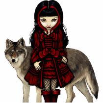 art, fantasy, eye, red riding hood, little, red, riding, hood, wolf, wolves, dog, dogs, wolfdog, wolfdogs, autumn, fall, leaves, fairy, tale, fairytale, fairytales, fairy tale, eyes, big eye, big eyed, jasmine, becket-griffith, becket, griffith, jasmine becket-griffith, jasmin, strangeling, artist, goth, gothic, gothic fairy, faery, fairies, faerie, Photo Sculpture with custom graphic design