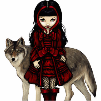 Red Riding Hood in Autumn gothic Photo Sculpture