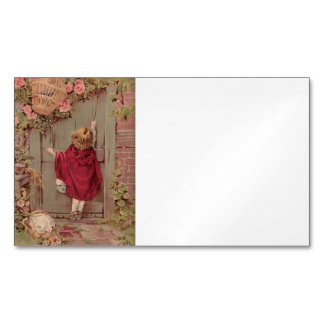 Red Riding Hood Knocking on Door Magnetic Business Card