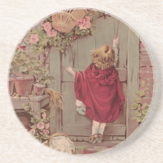 Red Riding Hood Knocks on the Door Drink Coaster
