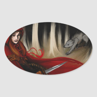 Red Riding Hood Oval Sticker