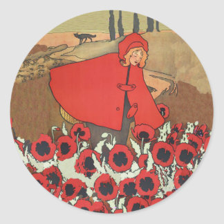 Red Riding Hood Picking Poppies Stickers