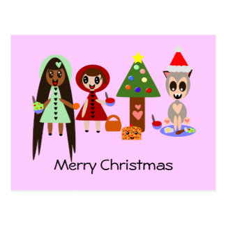 Red Riding Hood, Rapunzel at the Christmas Party Postcard