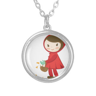 Red Riding Hood Round Pendant Necklace