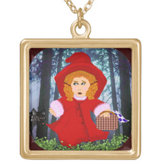 Red Riding Hood Square Pendant Necklace