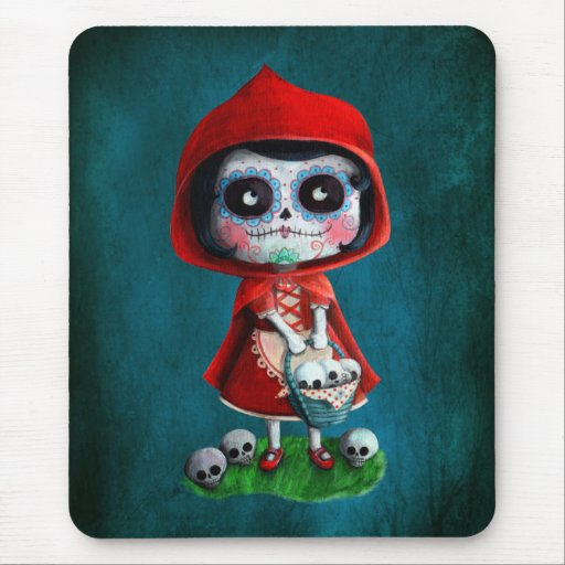 Red Riding Hood Sugar Skull Mouse Pad