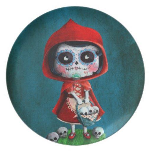 Red Riding Hood Sugar Skull Dinner Plate