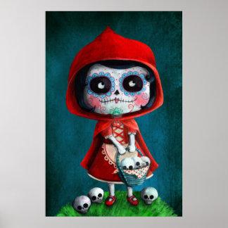 Red Riding Hood Sugar Skull Posters