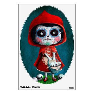 Red Riding Hood Sugar Skull Wall Decals