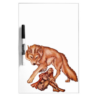 Red Riding Hood with Wolf Cartoon Drawing Dry-Erase Board