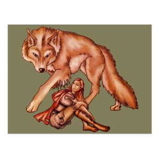Red Riding Hood with Wolf Cartoon Drawing Postcard