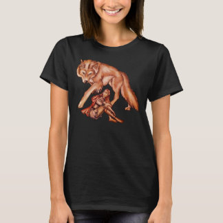 Red Riding Hood with Wolf Cartoon Drawing T-Shirt