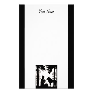 Red Riding Hood Wolf in Black Silhouette on white Stationery