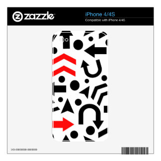 Red right direction iPhone 4 skin