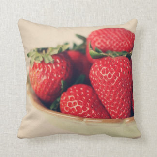 Red Ripe Strawberries Vintage Throw Pillow