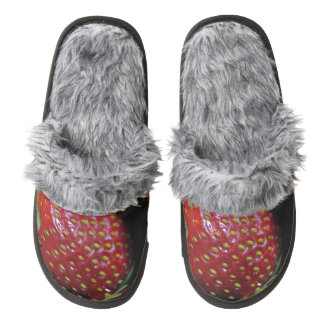 Red Ripe Strawberry Pair Of Fuzzy Slippers