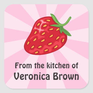 Red ripe strawberry kitchen canning jar labels