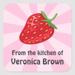Red ripe strawberry kitchen canning jar labels square sticker