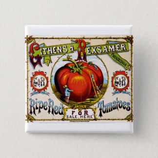 Red Ripe tomatoes For Sale - Vintage Ad Button