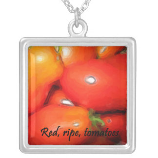 Red, Ripe, Tomatoes Silver Plated Necklace