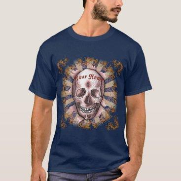 Beach Themed Red Ripper Skull custom name mens dark t-shirt