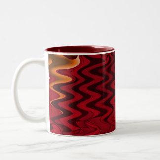 red ripple Two-Tone coffee mug