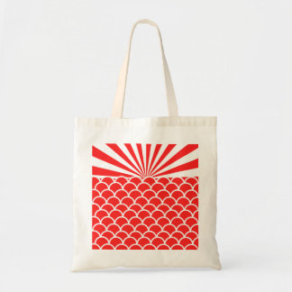 Red Rising Sun Japanese inspired pattern Canvas Bags