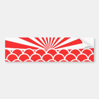 Red Rising Sun Japanese inspired pattern Bumper Sticker