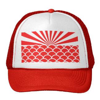 Red Rising Sun Japanese inspired pattern Mesh Hats