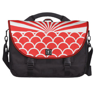 Red Rising Sun Japanese inspired pattern Laptop Messenger Bag