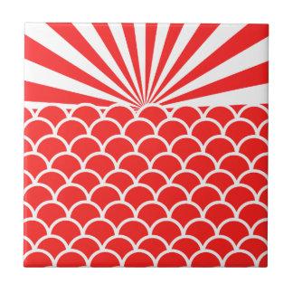 Red Rising Sun Japanese inspired pattern Tile