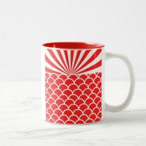 Red Rising Sun Japanese inspired pattern Two-Tone Coffee Mug