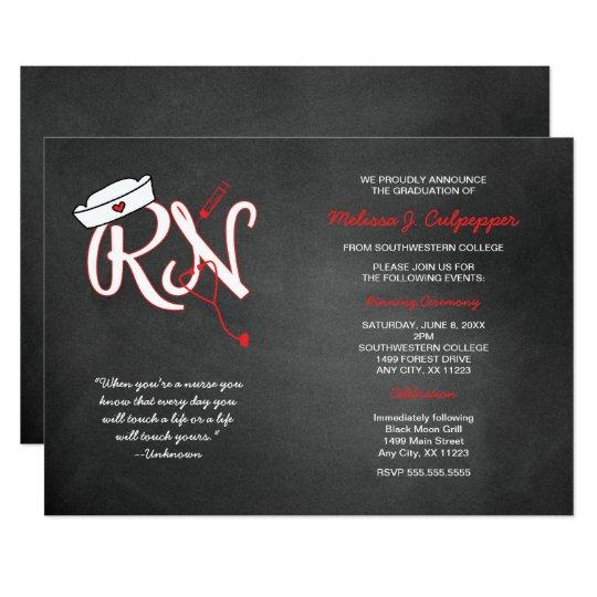 Red Rn Graduation Nurse Pinning Ceremony Invites Zazzle Com