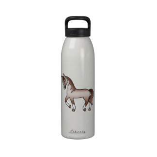 Red Roan Trotting Cartoon Horse Drinking Bottles
