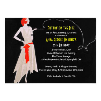 Red Roaring 20 s - Flapper Party Invitations